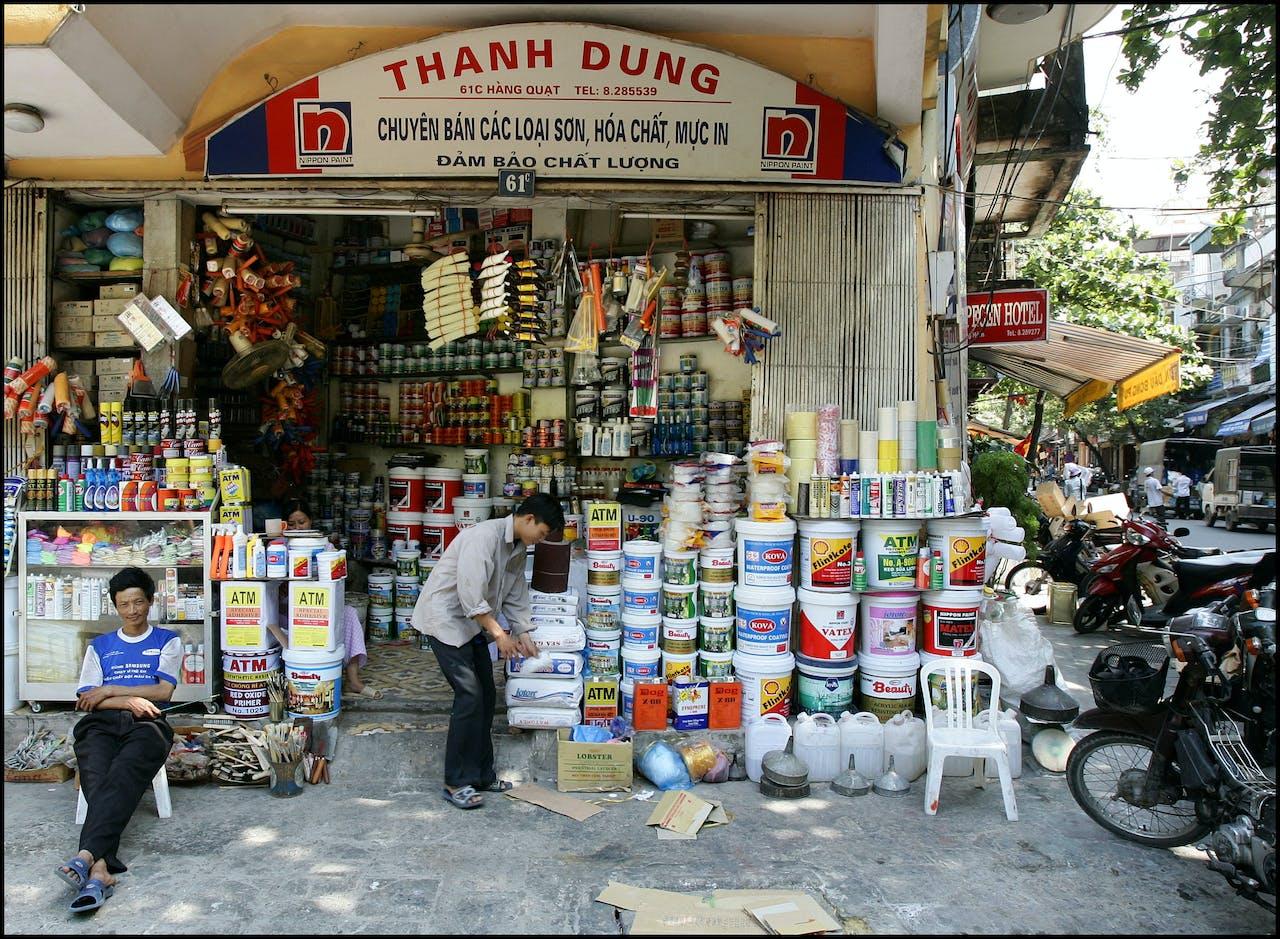 Straatbeeld van Hanoi, Vietnam
