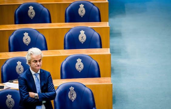 Geert Wilders (PVV) tijdens het plenair debat in de Tweede Kamer over de ontwikkelingen rondom het coronavirus.