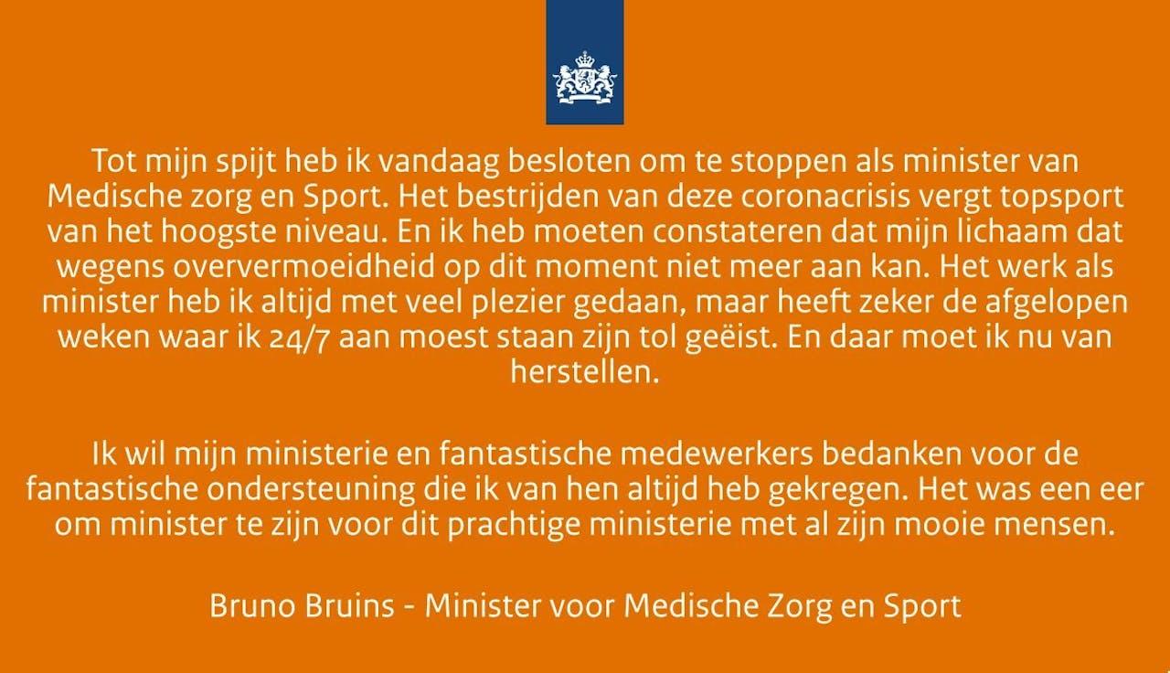De verklaring van minister Bruins