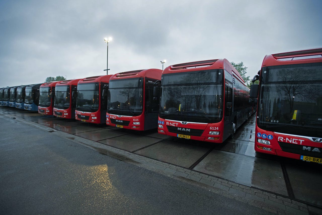 Bussen van het vervoerbedrijf