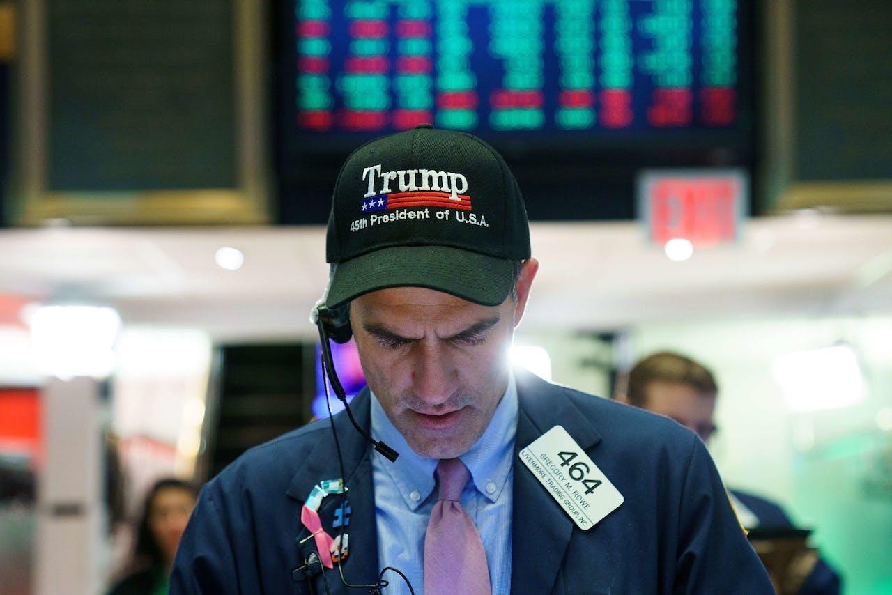 Handelaar op Wall Street die het helemaal ziet zitten met Trump