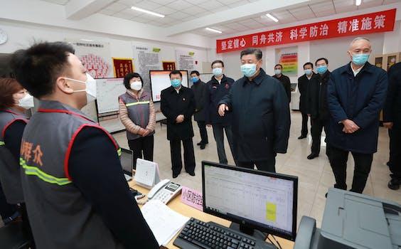 President Xi Jinping inspecteert een crisiscentrum in Beijing
