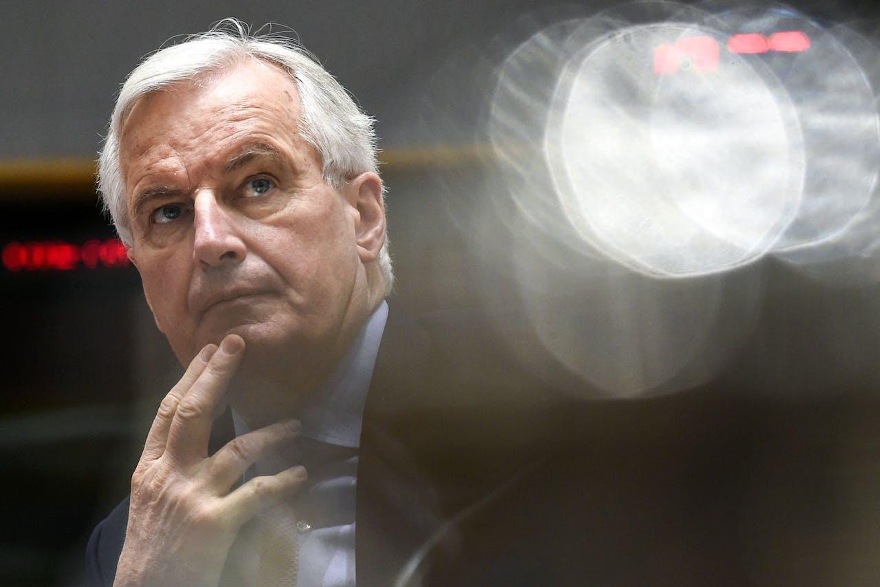 Michel Barnier tijdens het geven van zijn update vandaag.