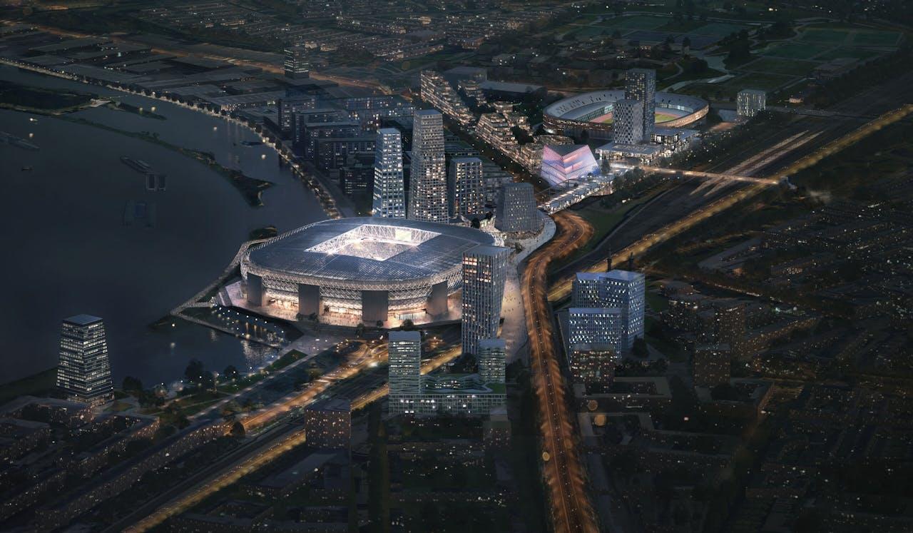 Feyenoord City bij schemering