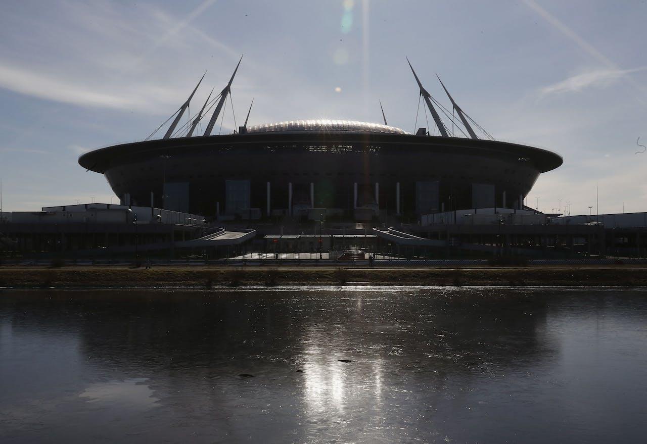 De Sint-Petersburg Arena in het Russsische St. Petersburg waar vier wedstrijden gespeeld zouden worden