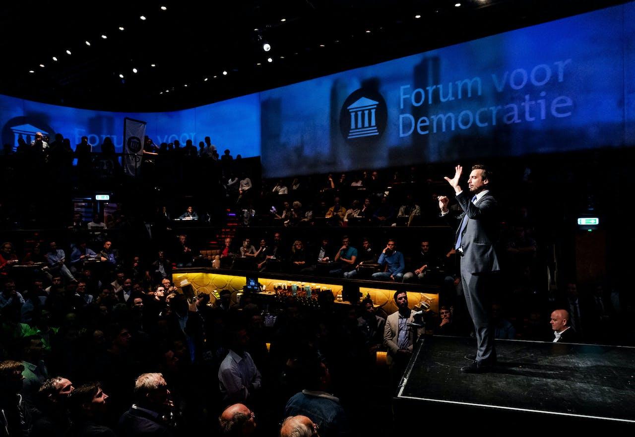 Partijleider Thierry Baudet tijdens de slotbijeenkomst van Forum voor Democratie (2019).
