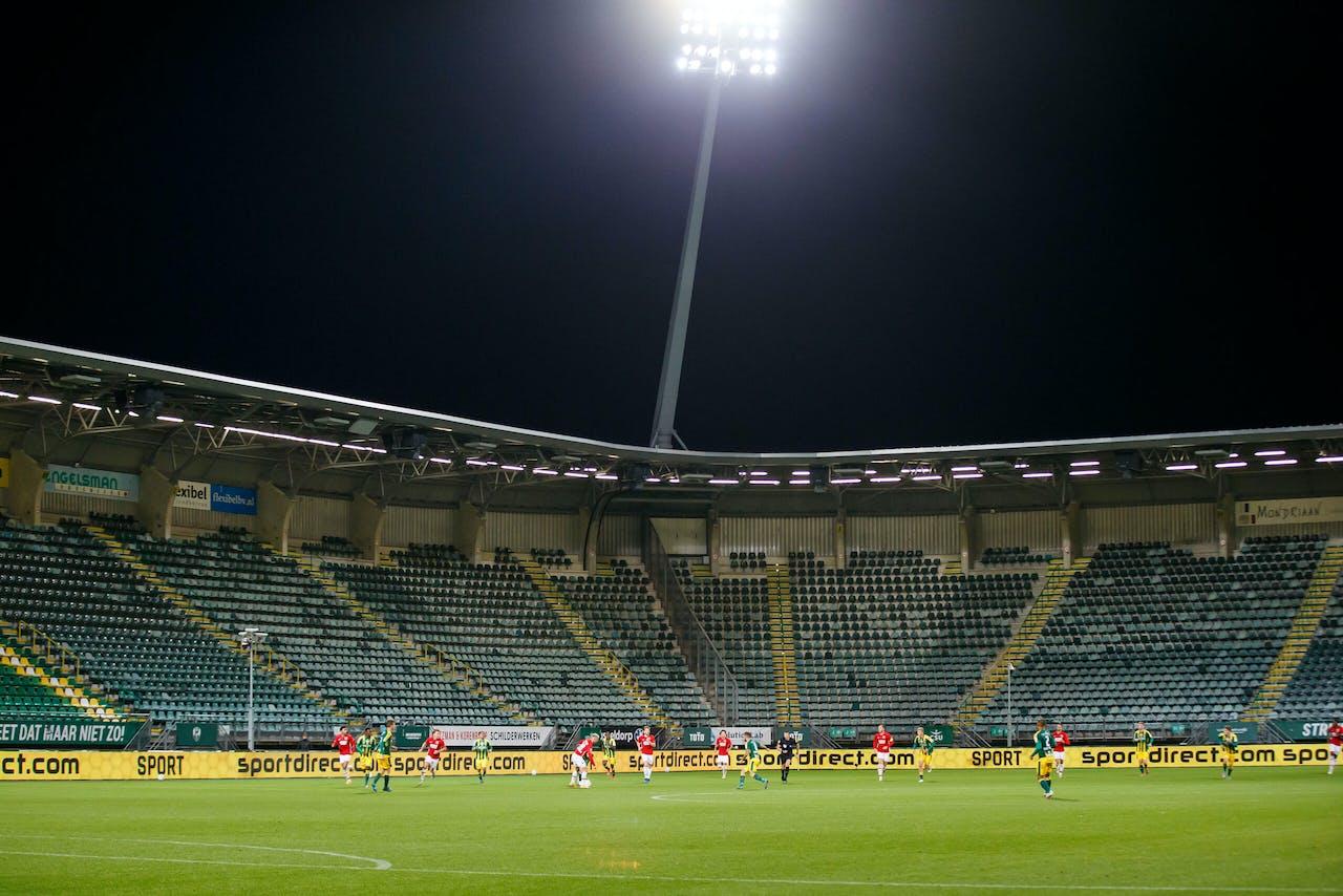 DEN HAAG - lege tribunes tijdens de Nederlandse Eredivisie-wedstrijd tussen ADO Den Haag en AZ Alkmaar in het Cars Jeans-stadion op 25 oktober 2020 in Den Haag, Nederland. ANP JAN DEN BREEJEN