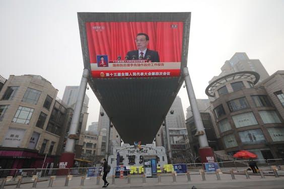 De Chinese premier Li Keqiang houdt een speech