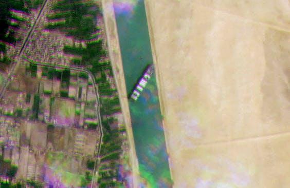 Satellietbeeld van de Taiwanese tanker