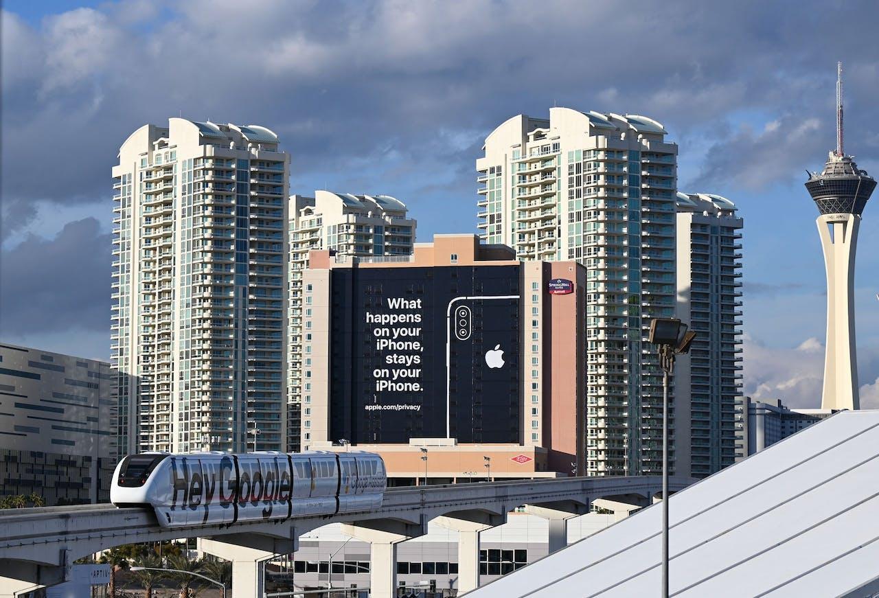 De advertentie van Apple in Las Vegas