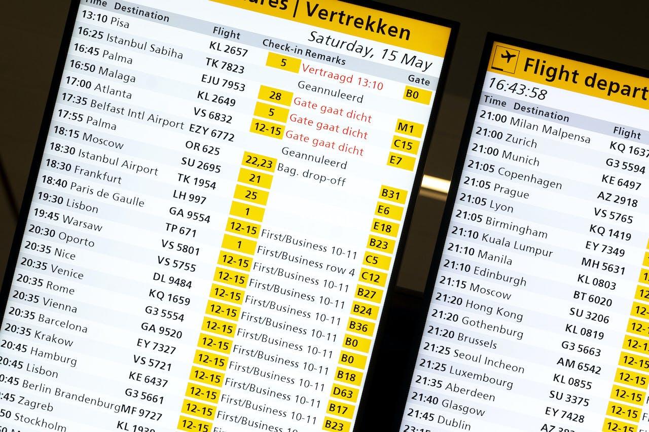 SCHIPHOL - Vertrekborden op luchthaven Schiphol.