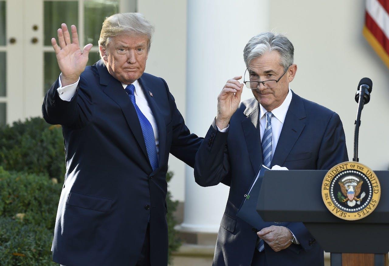 Donad Trump en Jerome Powell, eind 2017.