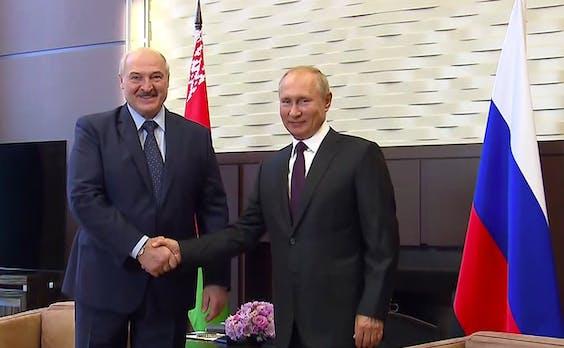 De Russische president Poetin ontvang zijn collega Alexandr Loekasjenko