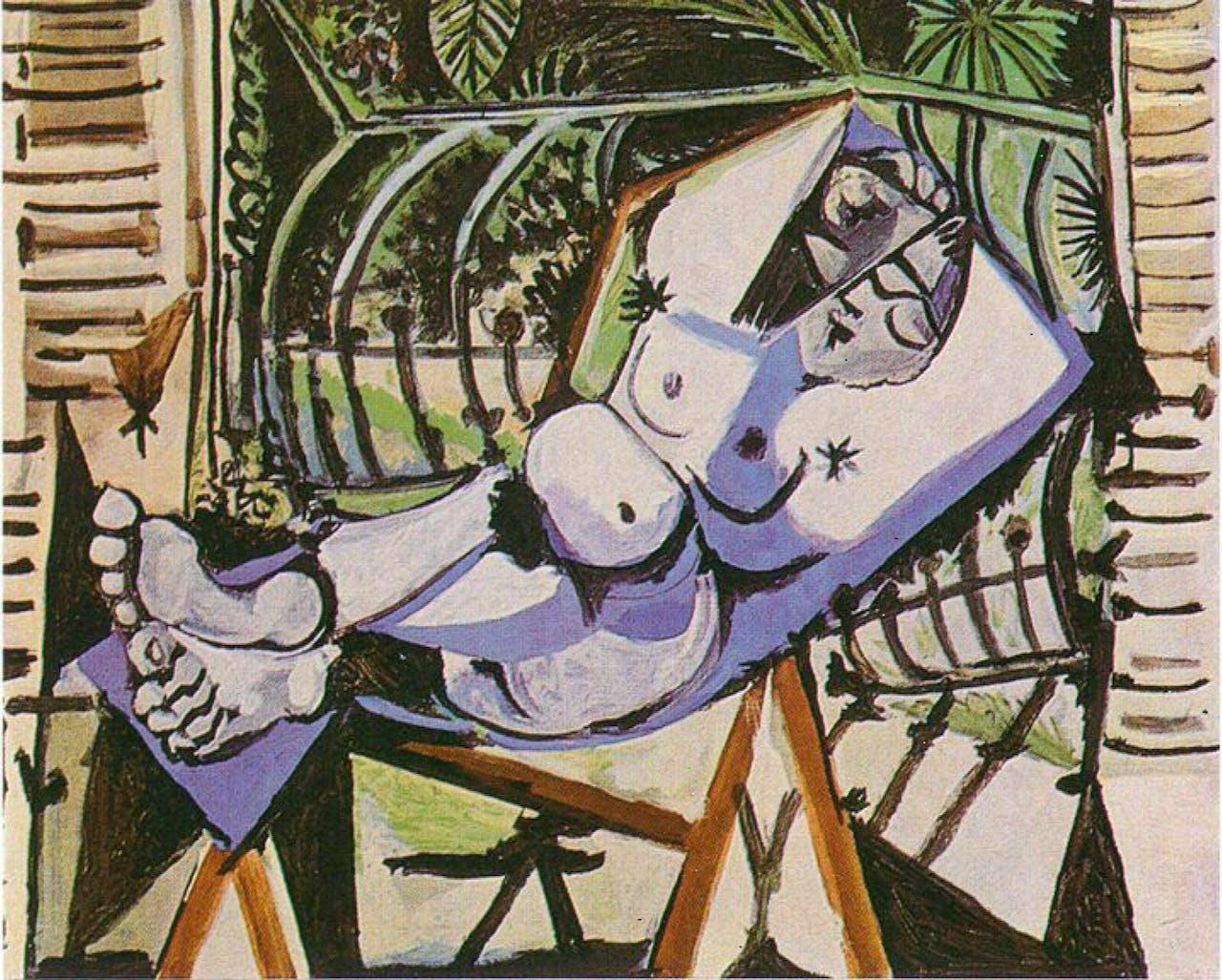 Vrouwelijk naakt voor tuin uit 1956 van Pablo Picasso.