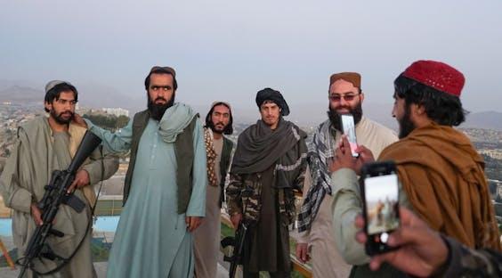 Taliban-strijders in de Afghaanse hoofdstad Kabul