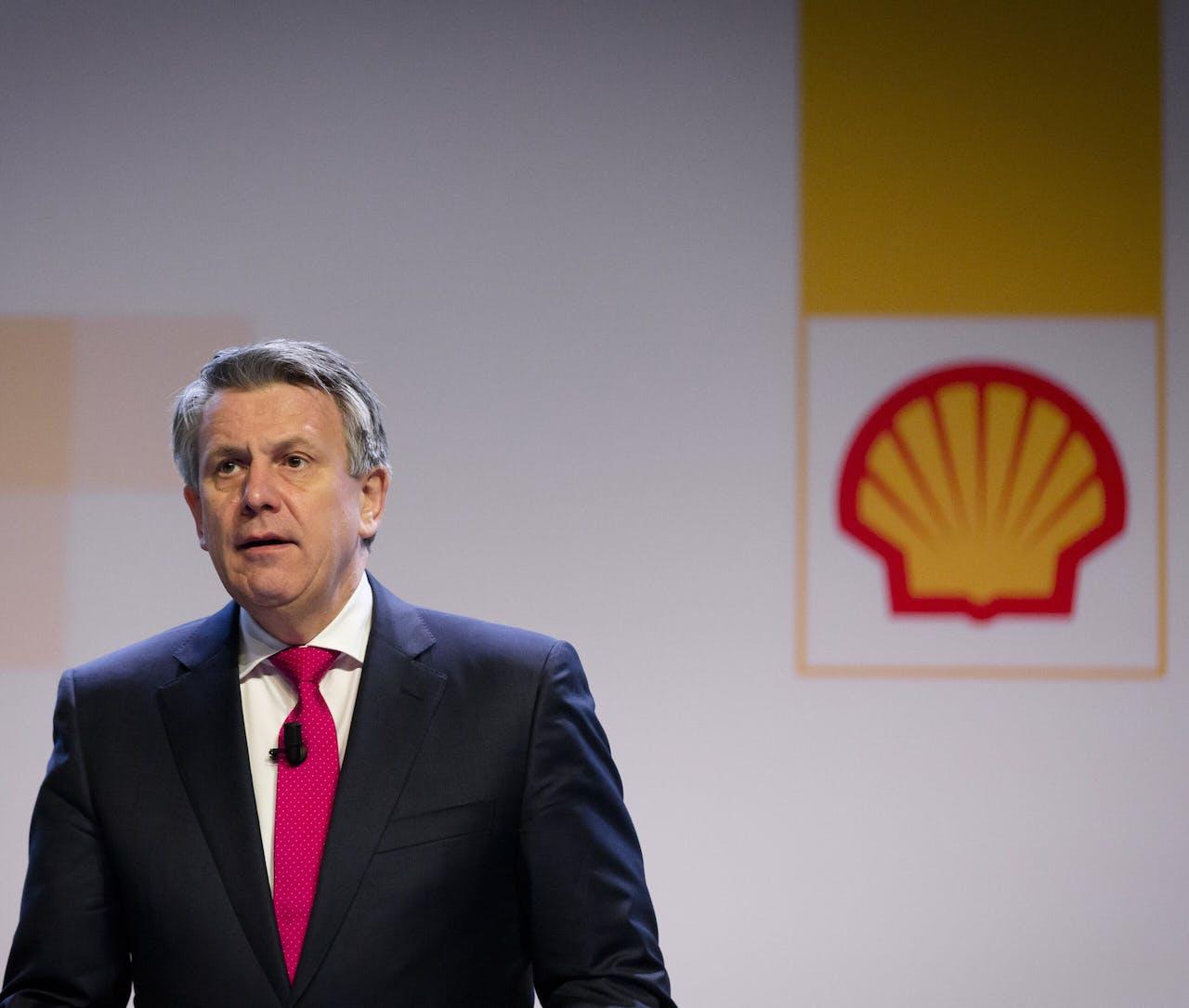 Ben van Beurden, CEO van Shell bij een aandeelhoudersvergadering in 2016