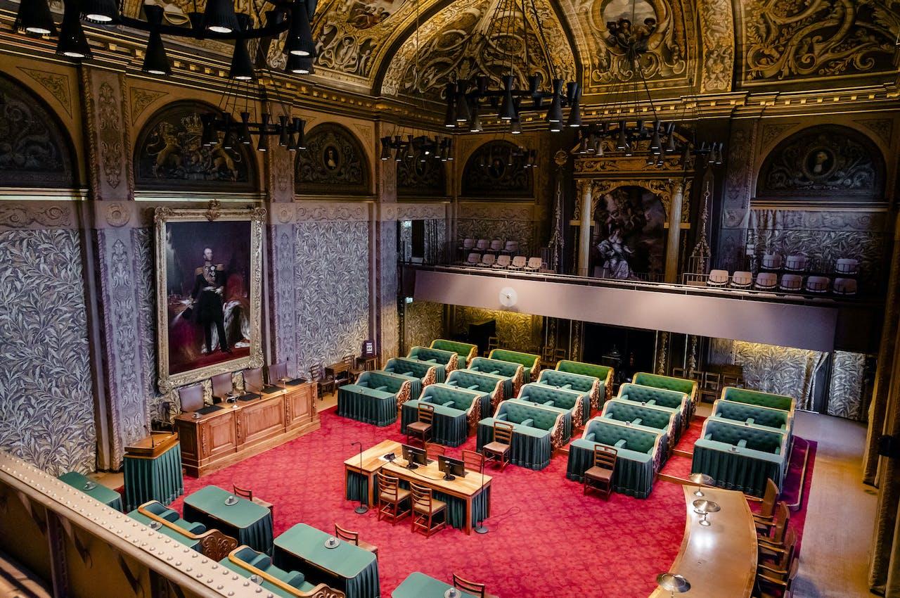 2019-05-24 09:55:02 DEN HAAG - Een overzicht van de plenaire zaal van de Eerste Kamer. ANP BART MAAT