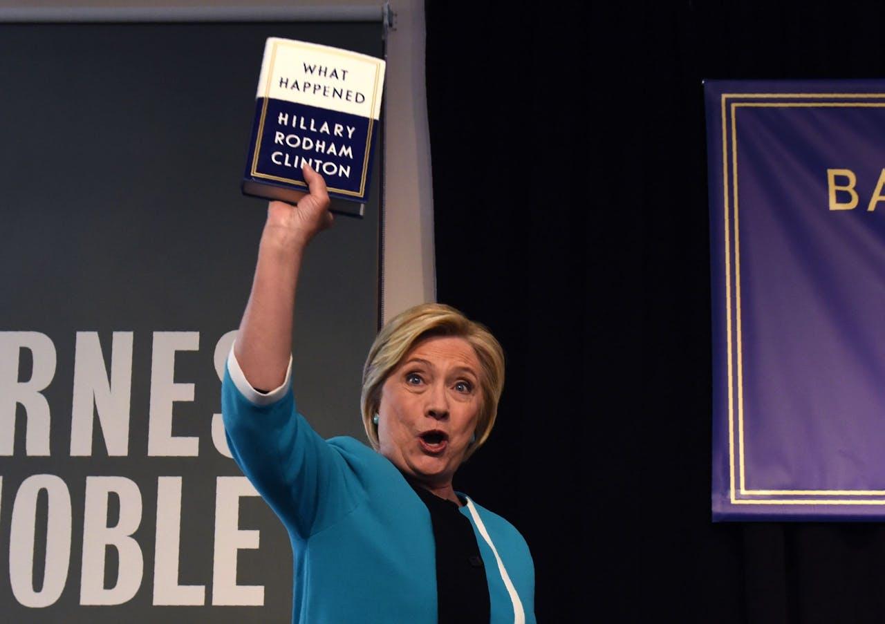 Hillary Clinton bij haar boekpresentatie in New York.