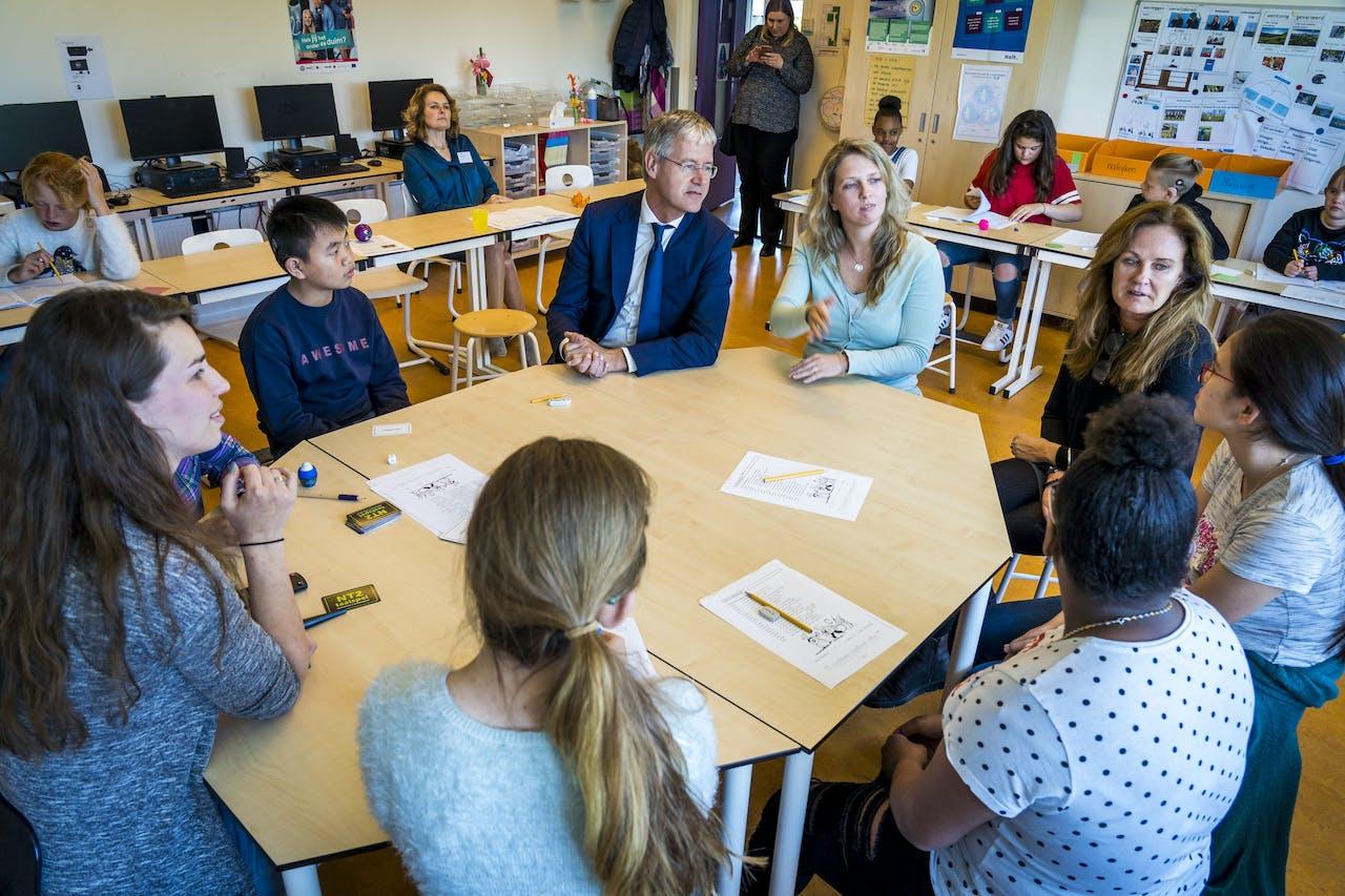 Minister Slob op bezoek bij de leerlingen van groep 7 op de Auris dr. M. Polanoschool