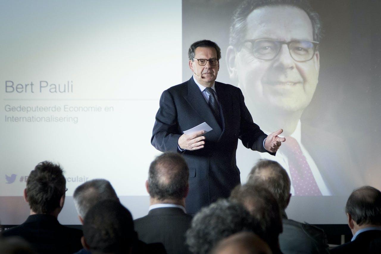 Bert Pauli (VVD) tijdens een eerdere conferentie over circulaire economie in Brabant