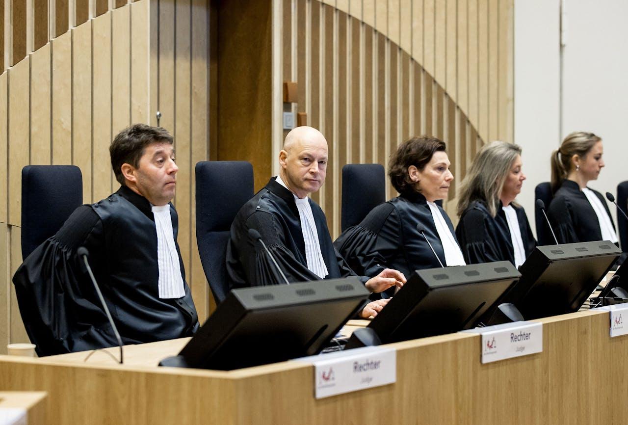 De rechtbank in de rechtszaal in het zwaarbeveiligde Justitieel Complex Schiphol, waar het internationale MH17-proces zal plaatsvinden