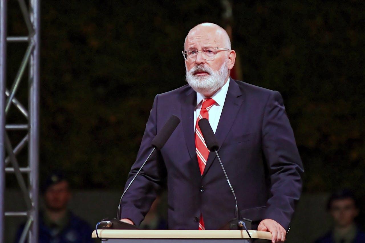 Frans Timmermans tijdens een toespraak in Polen voor de herdenking van de Tweede Wereldoorlog.