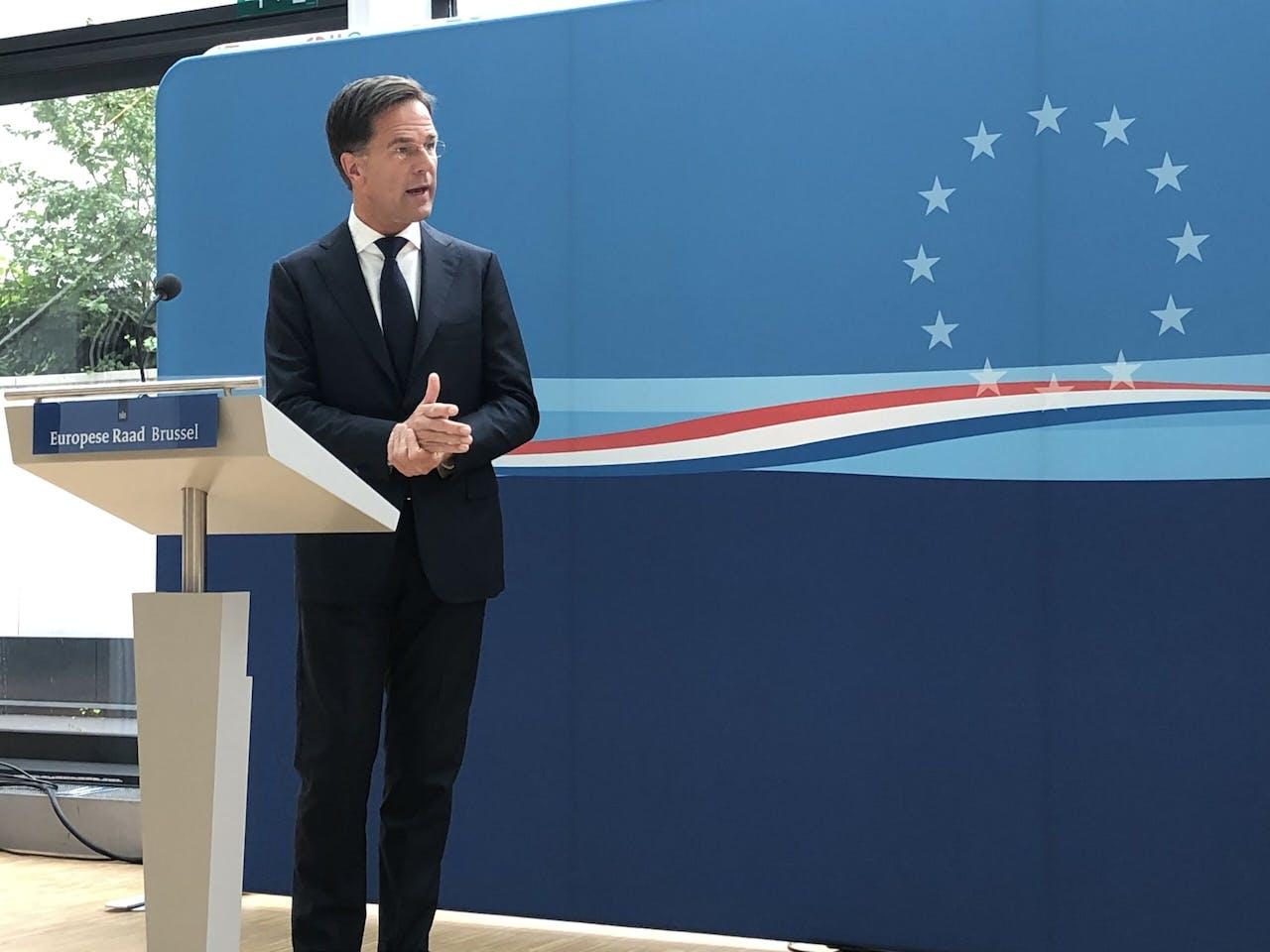 Premier Rutte na afloop van de EU-top.