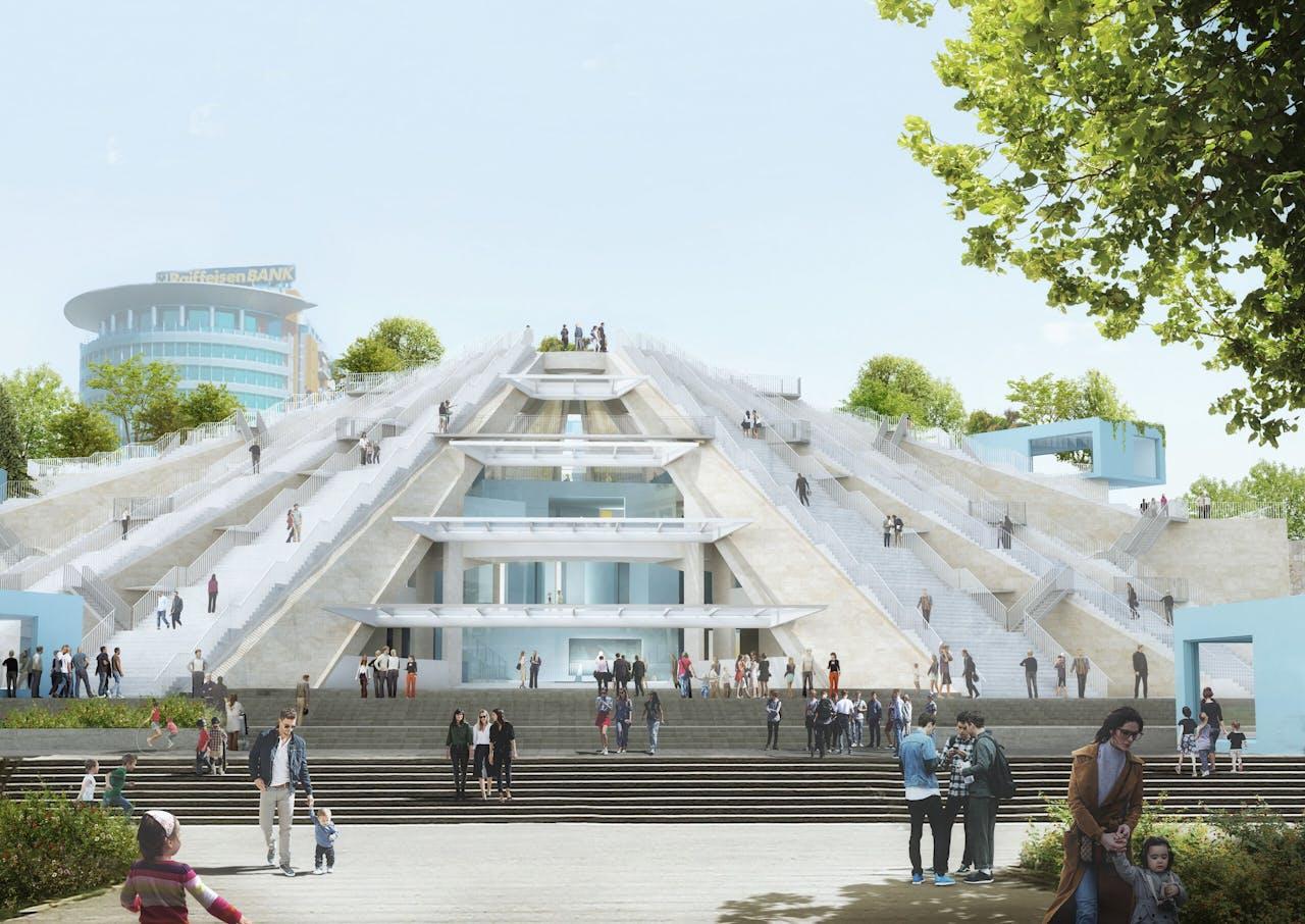 De Piramide van Tirana, het nieuwe ontwerp van Winy Maas, met een opgefriste buitenkant