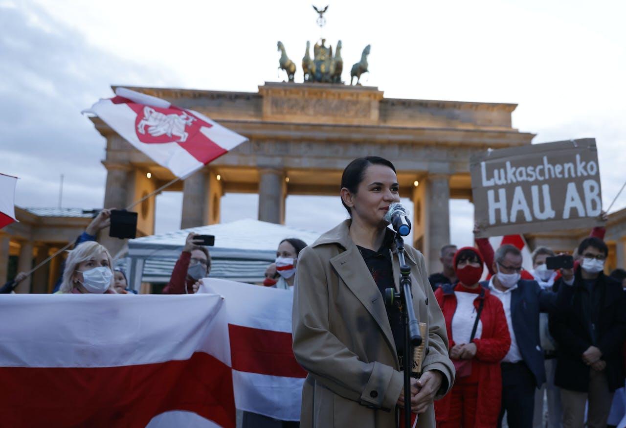 Presidentskandidate en oppositieleidster Svetlana Tichanovskaja voert haar verzet tegen het Loekasjenko-regime vanuit Litouws ballingschap. Deze week doet ze Berlijn aan. Odd ANDERSEN
