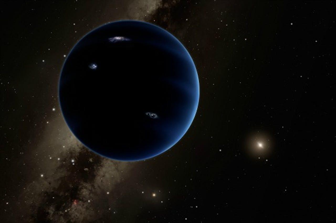 Conceptillustratie van Planet Nine, vrijgegeven door Caltech. Foto: ANP/AFP