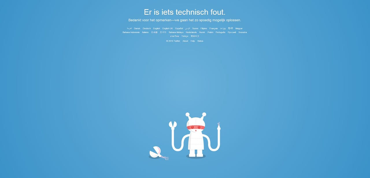 Startpagina Twitter. Bron:Twitter.com