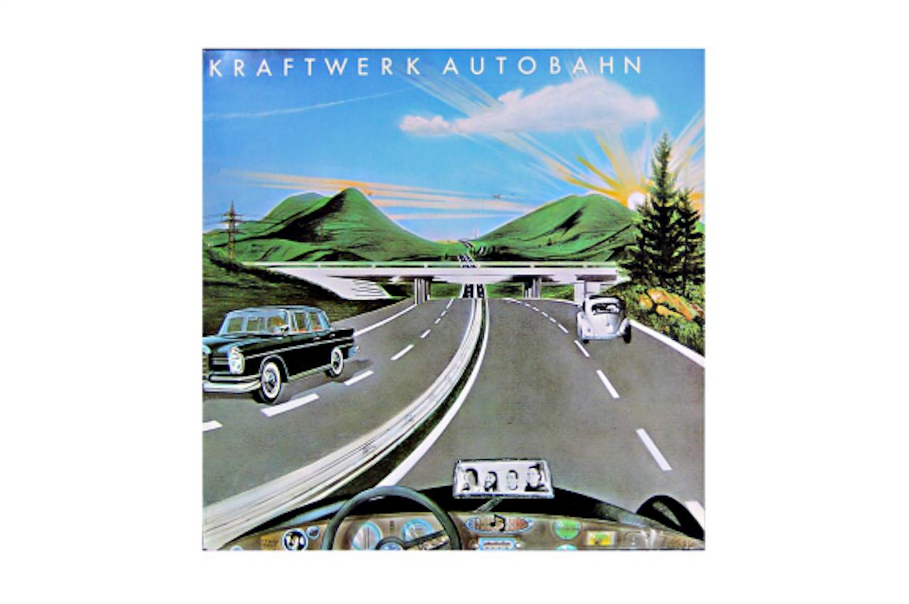 Vooruitgang, over de autowegen van Hitler. Cover van het album Autobahn van Kraftwerk.