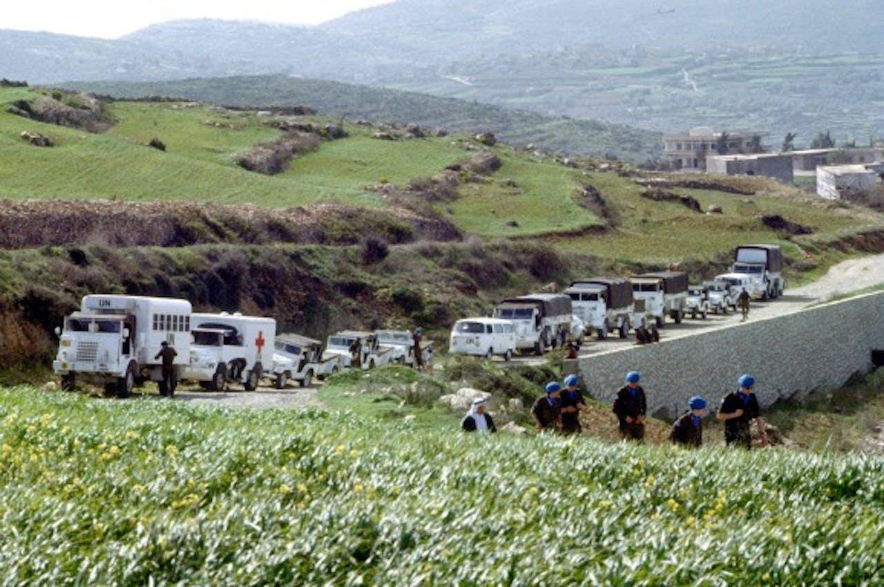 De Nederlandse soldaten komen aan in Haris, Libanon, om de Franse troepen af te lossen in maart 1979. Foto: ANP
