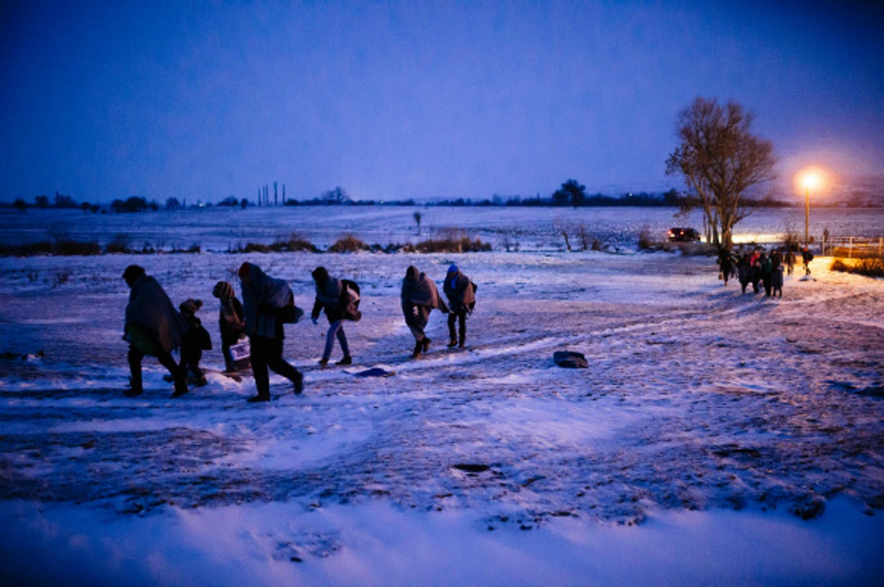 Migranten in Macedonië. Foto: ANP/AFP