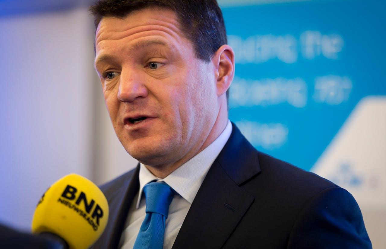 KLM-topman Pieter Elbers voorafgaand aan de presentatie van de jaarcijfers van Air France-KLM. Foto ANP