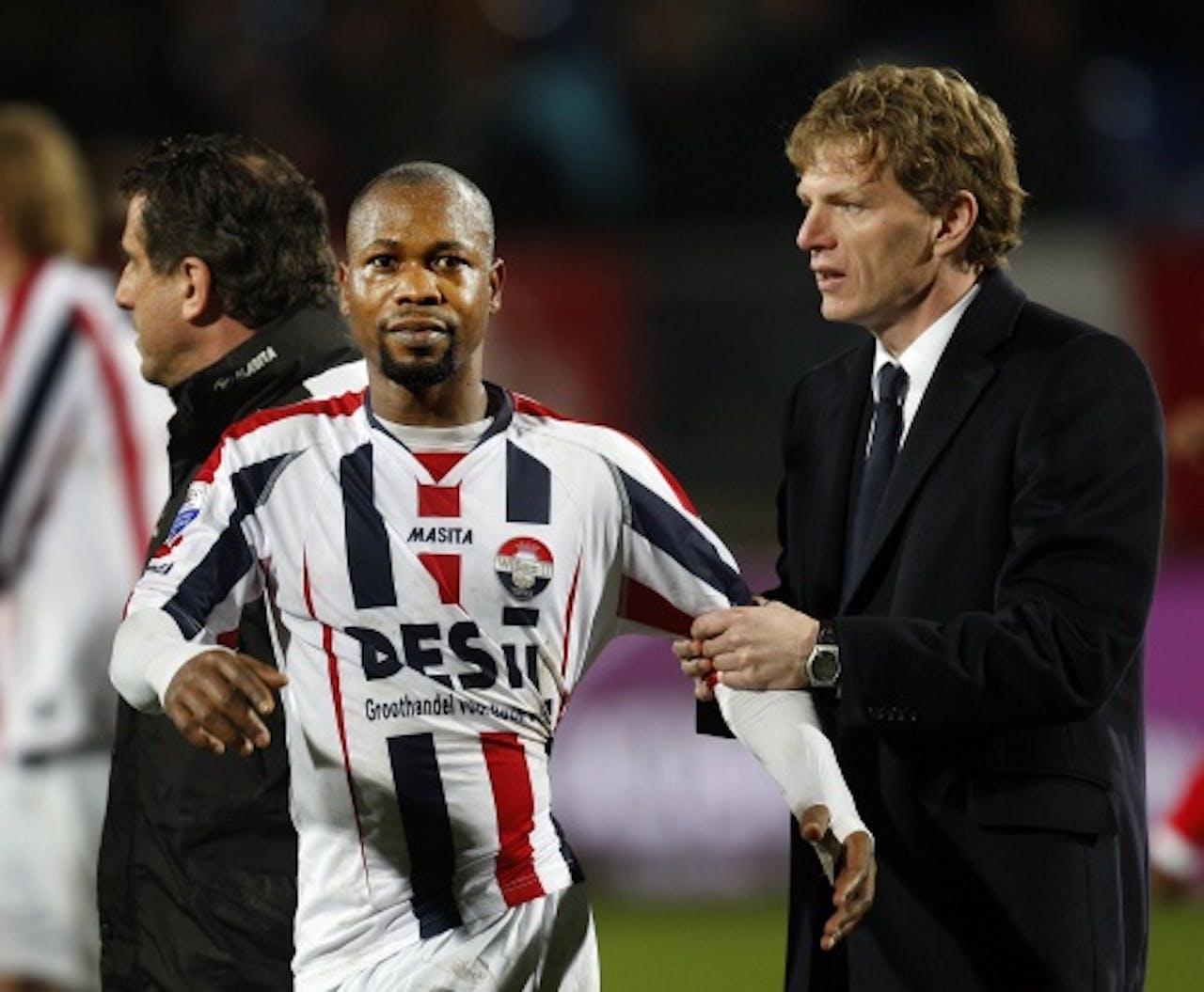 Ibrahim Kargbo (L) met trainer Alfons Groenendijk. ANP