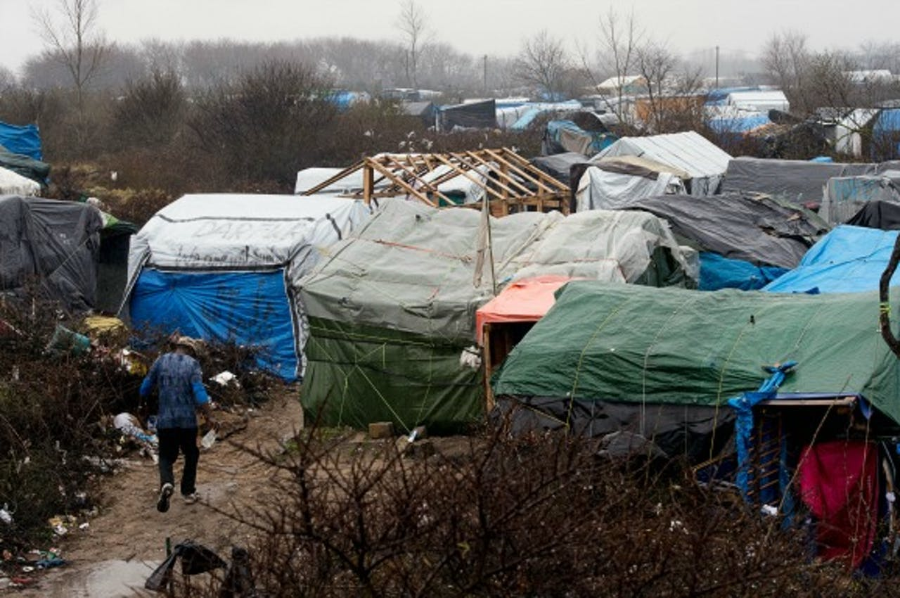 Het tentenkamp in Calais. Foto: ANP/AFP