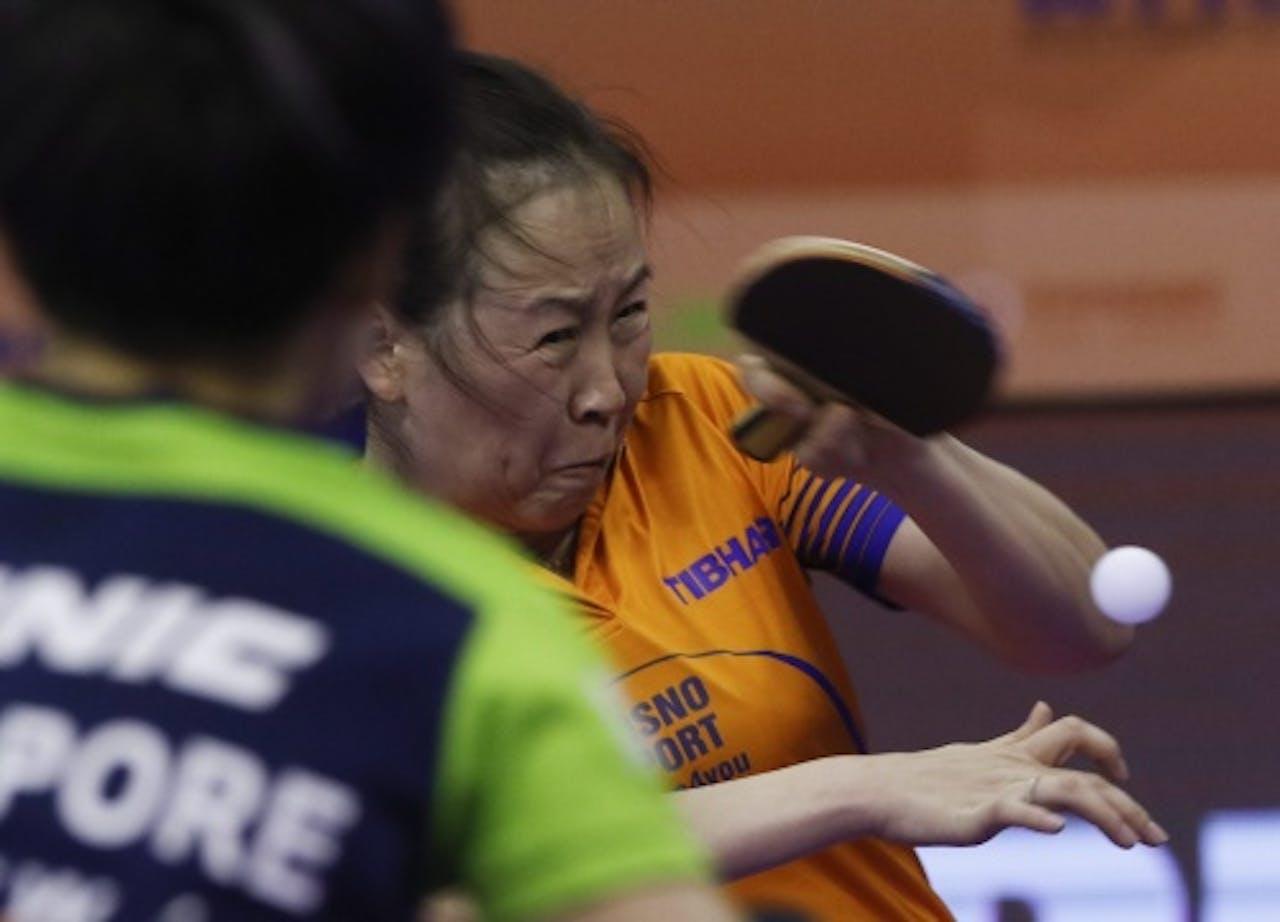 Li Jiao (R) tegen Tianwei Feng. EPA