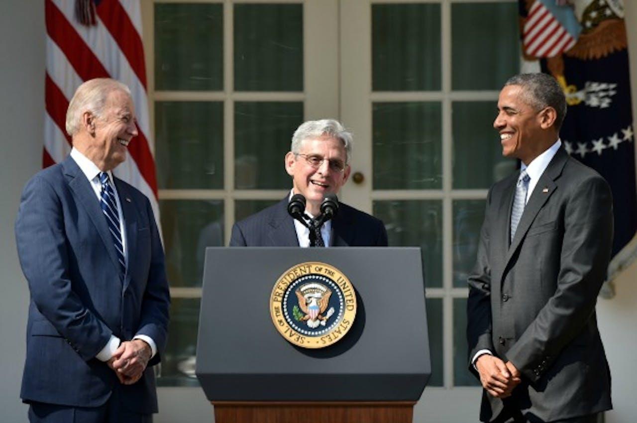 Vlnr.: Vicepresident Joe Biden, rechter Merrick Garland en president Barakc Obama. Foto: ANP/AFP