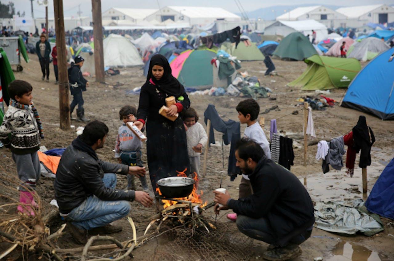 Gestrande migranten in Idomeni, Griekenland. Foto: ANP/EPA