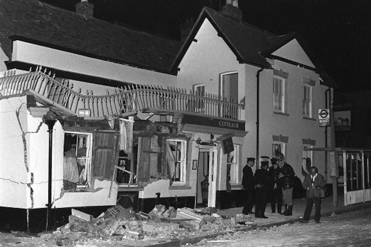 Archieffoto van een door de IRA opgeblazen pub in het Britse Guilford in 1974 waarbij 7 mensen omkwamen. Foto ANP