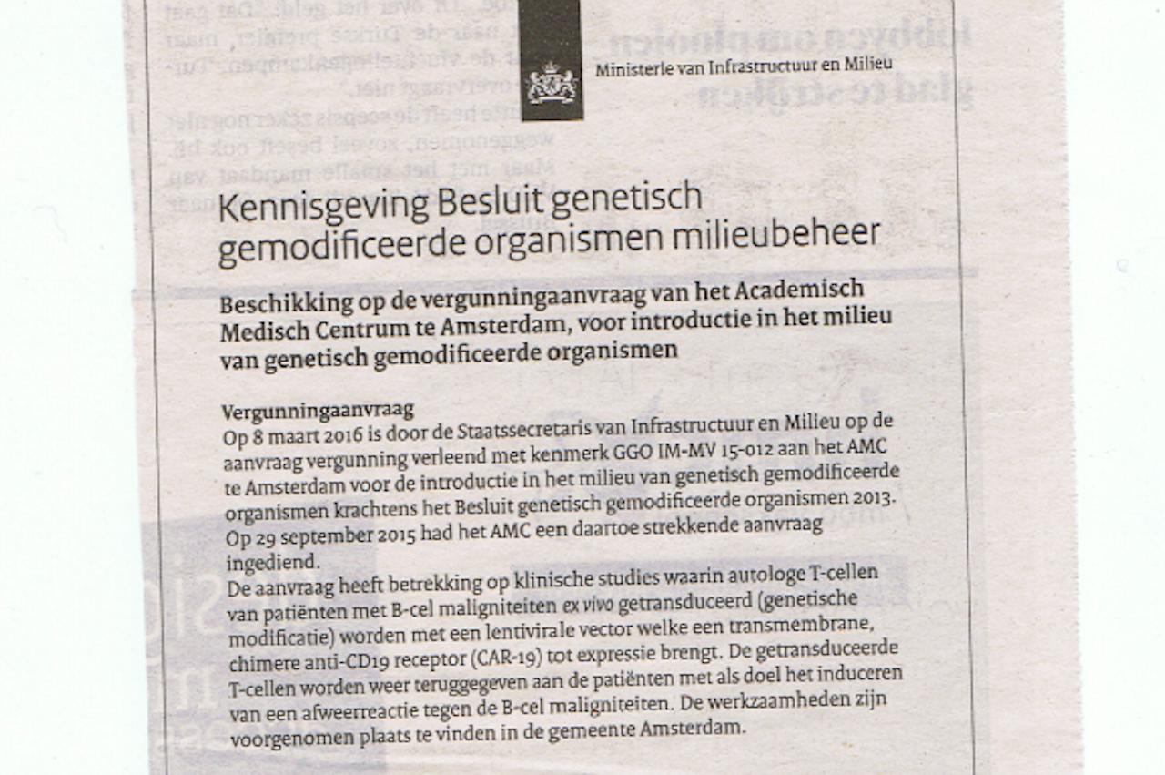 Krantenknipsel, met dank aan Bernard Hammelburg!