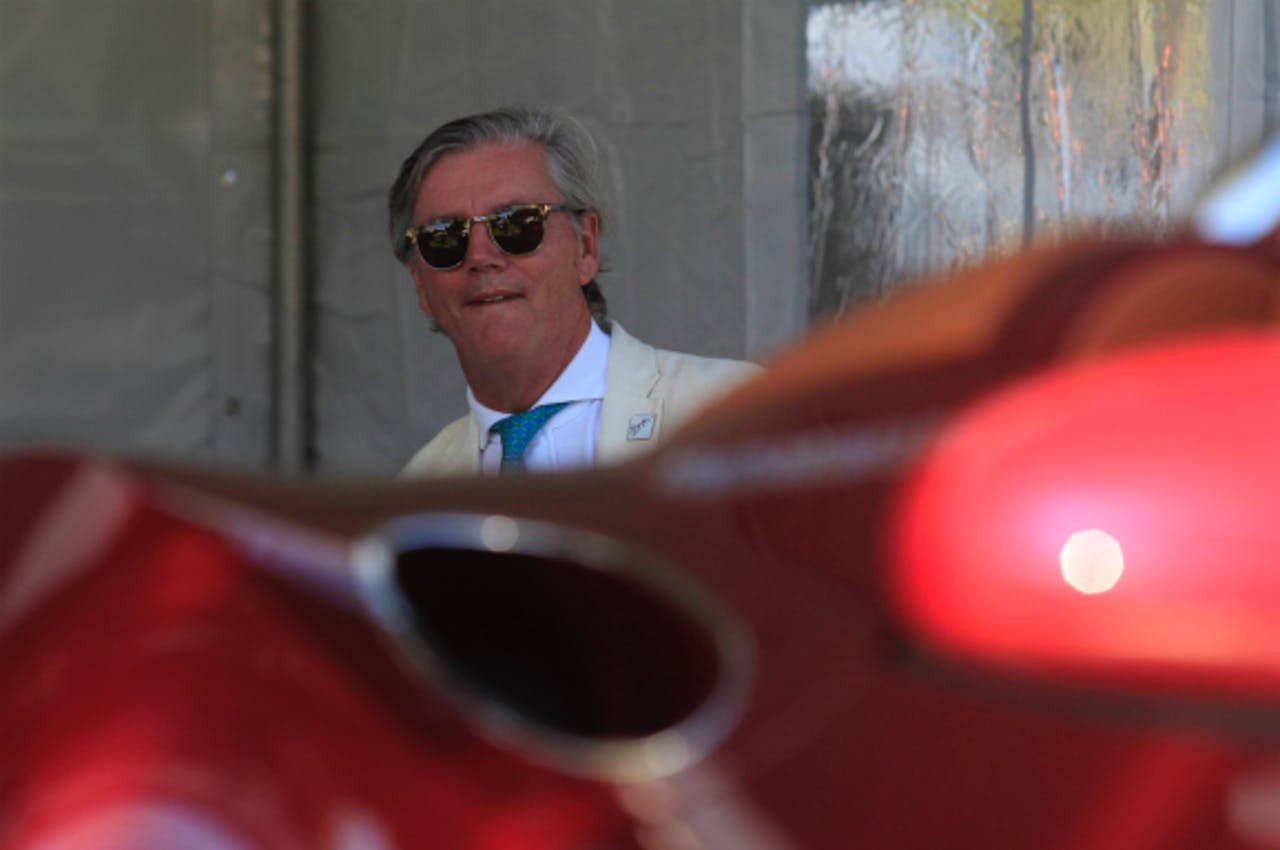 Foto: ANP - Spyker-topman Victor Muller tijdens de onthulling van de nieuwe Spyker B6 Venator
