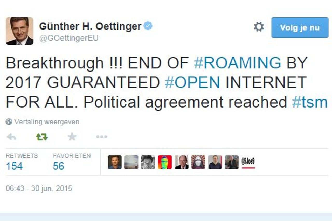 Tweet van Europees commissaris Oettinger