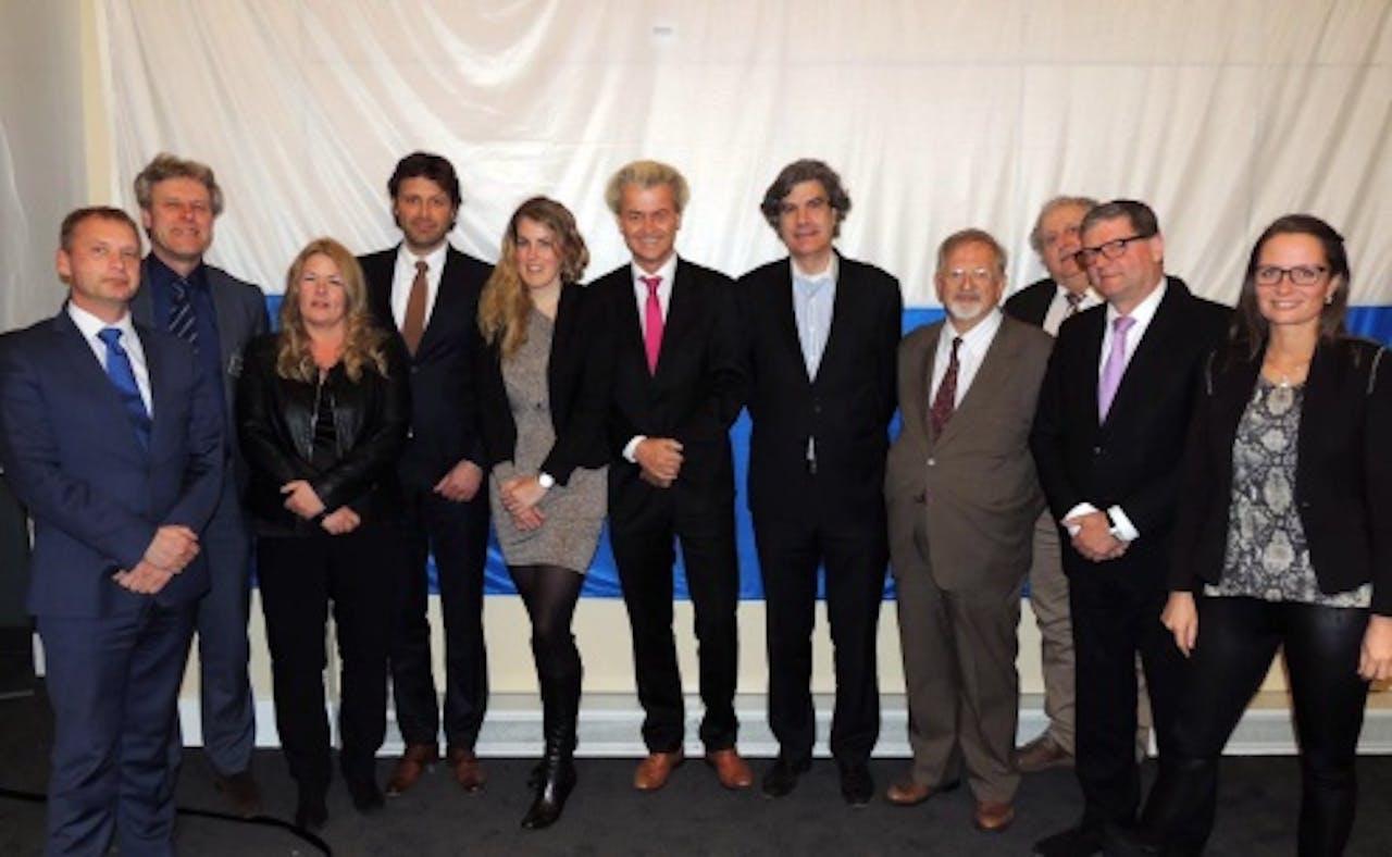 Kandidaten PVV voor Europese verkiezingen in 2014. Geheel links Auke Zijlstra. Archieffoto ANP