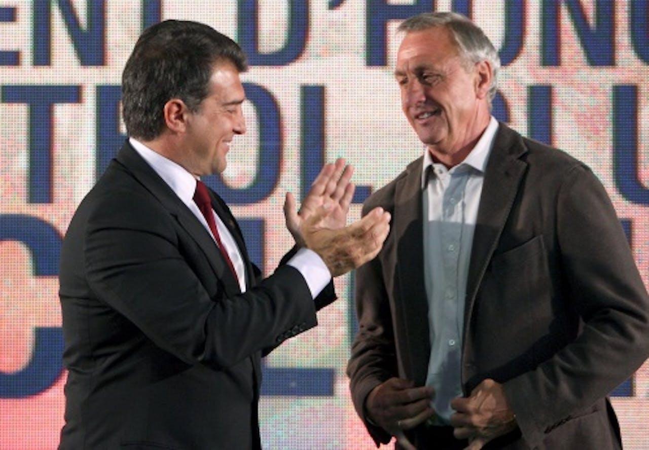 Laporta (L) en Cruijff. Archieffoto EPA