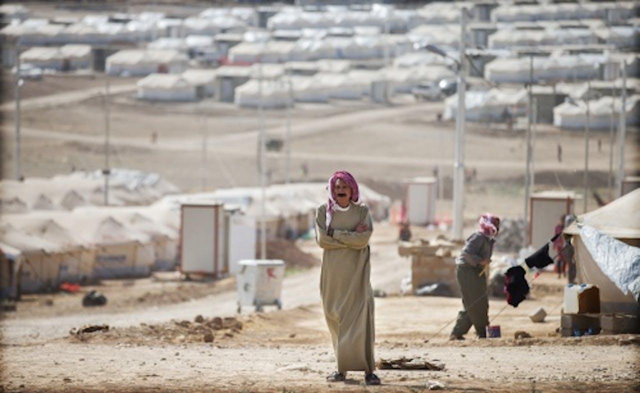 ANP Het door Yezidi's bewoonde Khanke kamp in de Duhok provincie in Noord-Irak.