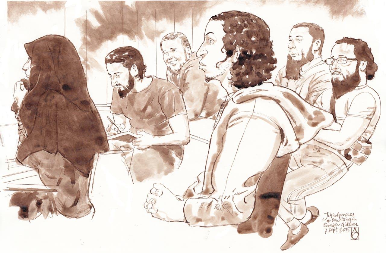 Rechtbanktekening van verdachten in Jihadzaak. (vlnr) Iman B., Azzedine C., Rudolf H., Oussama C., Jordi de J. en Moussa L. Foto: ANP.