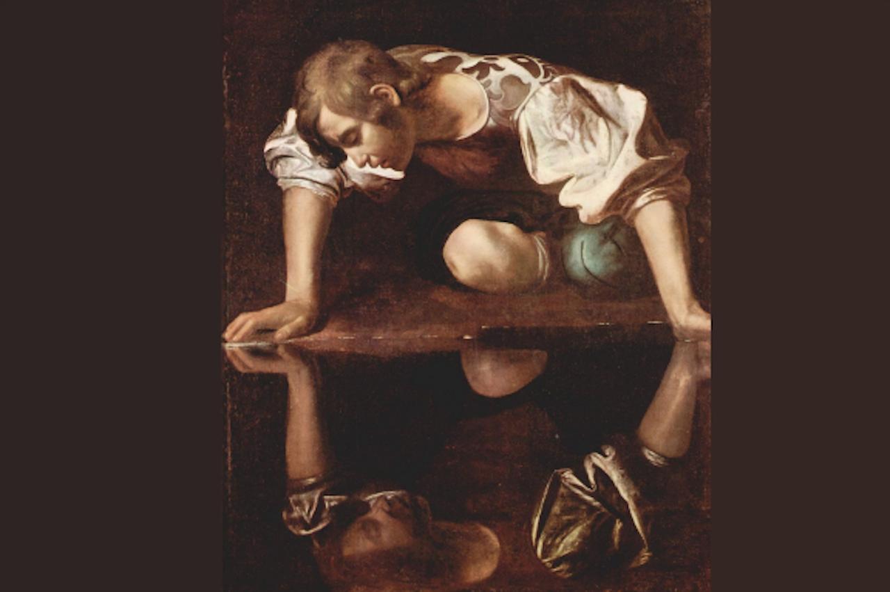 Narcissus verliefd op zijn spiegelbeeld, Michelangelo Merisi da Caravaggio (Foto: Public domain, via Wikimedia Commons)