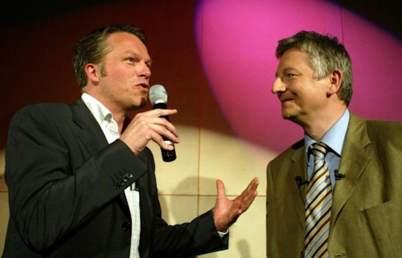 Archieffoto Steve Stevaert (R) en Wouter Bos. EPA